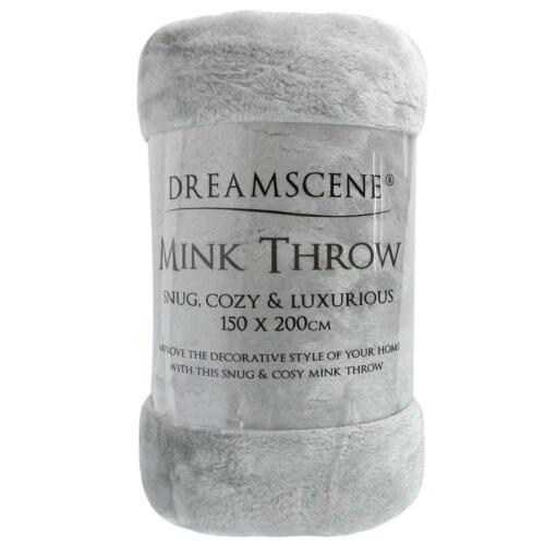 Dreamscene Large Luxury Faux Fur Throw Sofa Bed Mink Soft Warm Fleece Blanket UK