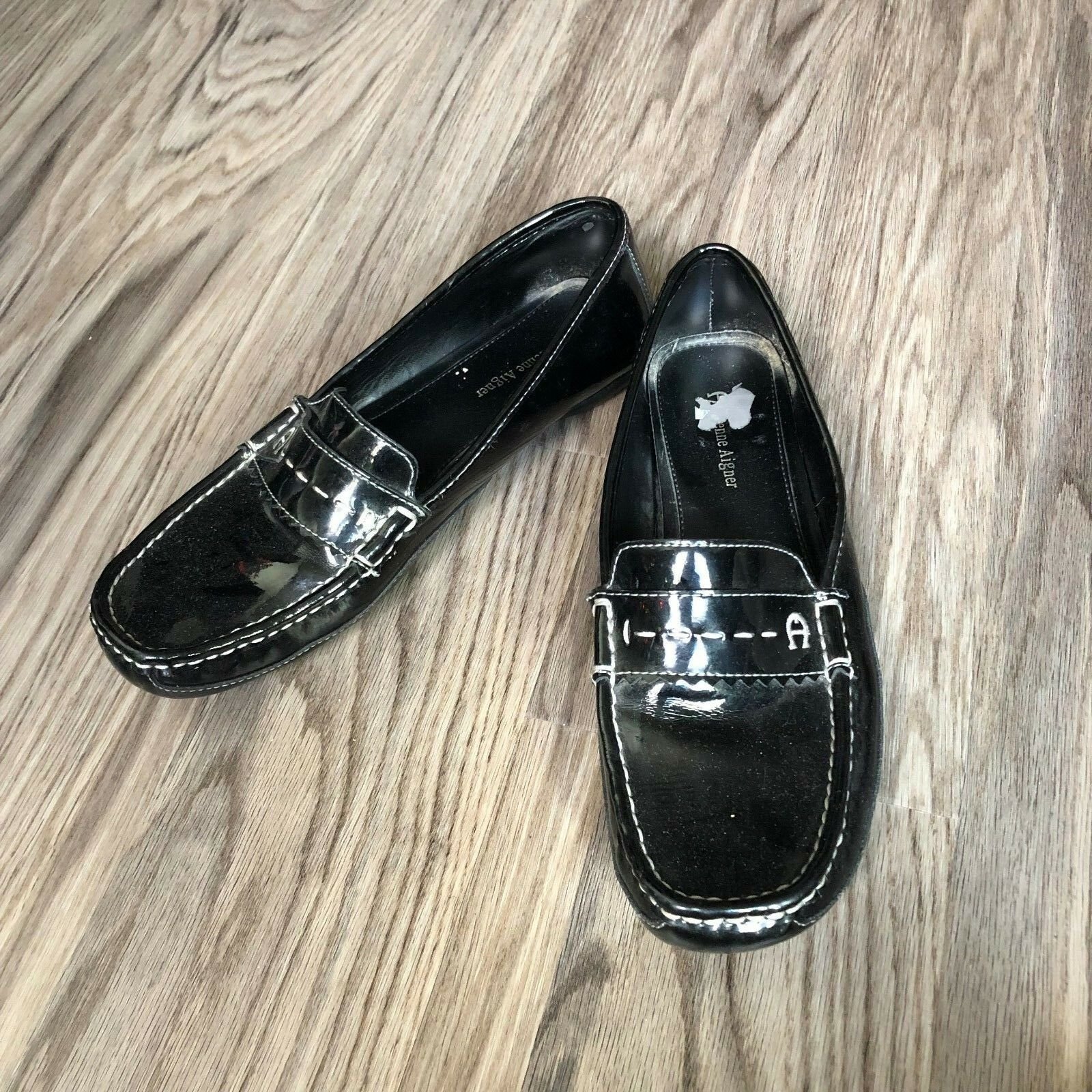 ETIENNE AIGNER Townsend Black Leather Flats Loafer shoes Womens Size 9.5M Work