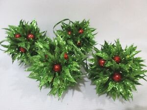 4-NEW-Christmas-Holiday-Holly-Berries-Ornaments-Balls-4-034-Green-Glitter