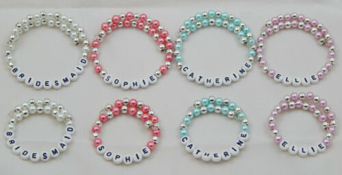 ADULT PINK WHITE BLUE PEARL /& SILVER BRACELET /& NAME OF YOUR CHOICE CHILD