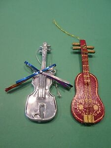 Vintage Plastic & Wood Christmas Ornaments Guitar MUSIC ...