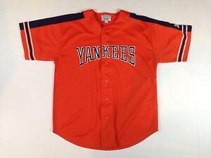huge selection of 82f5d 055f8 Details about Men's Large New York Yankees Orange Alternate Jersey by  Starter