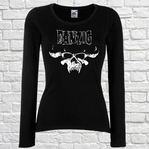 SKULL DAMEN//WOMEN T-SHIRT DANZIG 1 BLACK LONGSLEEVE//SHORTSLEEVE ROCK