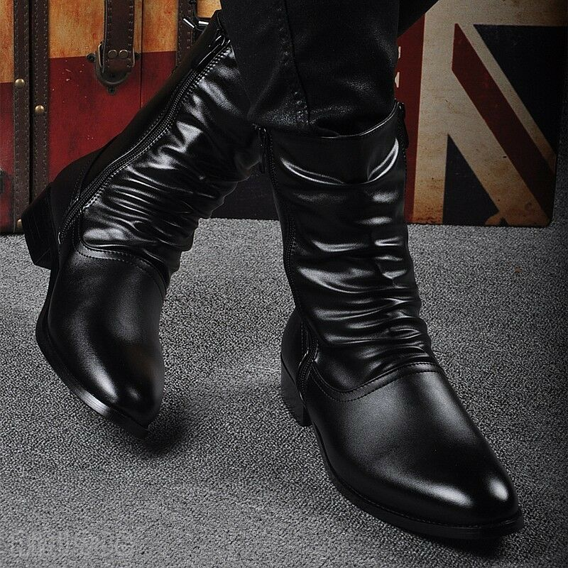 Fashion Men's Military Motorcycle Biker Boots Biker new Leather Winter shoes hot