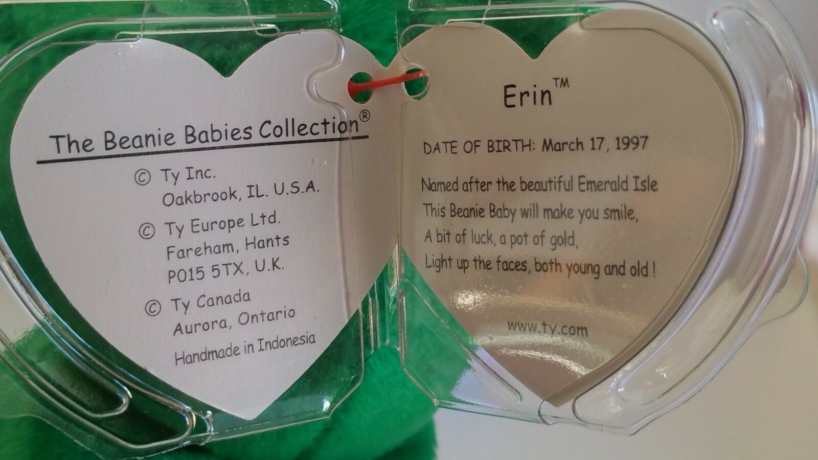 Erin l'Ours TY Beanie Baby-première question Indonésie PE Granules-BB 13e B 13e Granules-BB 135533