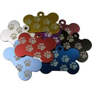 Bone-Shaped-W-Paw-Anodised-38mm-Engraved-Pet-ID-Tags-Discs-Disk-Dog-Cat-Identity
