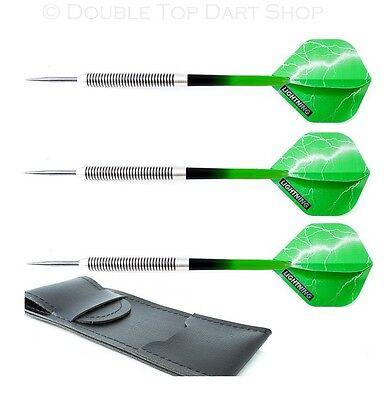 Nodor Green Lightning 80% Tungsten Darts + Lightning Flights, Stems, Case 19-30g