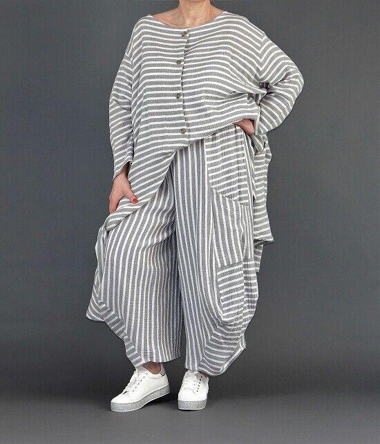 ♦ AKH Fashion Ballon-Hose EG 40,42,44,46,48,50,52 grau-weiß, gestreift ♦