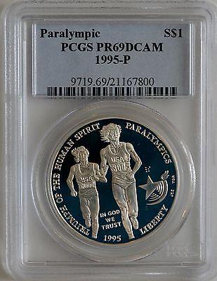 1995-P Gymnastics Olympic Silver Commemorative Dollar PR69DCAM PCGS Proof 69 DC
