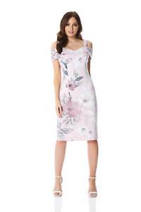 a3690da3fd7 Image is loading Roman-Originals-Women-Floral-Print-Cold-Shoulder-Dress