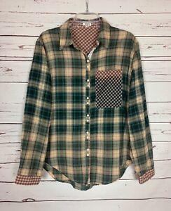 POL-Anthropologie-Women-039-s-M-Medium-Plaid-Long-Sleeve-Button-Fall-Top-Shirt-Tunic