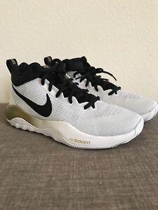 Nike-Zoom-Rev-White-Black-Gold-852422-107-Mens-Size-7-5-Basketball-Shoe