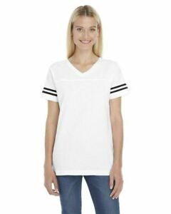 3537 LAT Women/'s New Short Sleeve Contrast Stripes Football V Neck Basic Tee