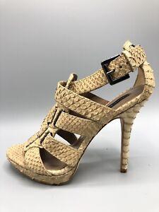 Zara-Sandalen-Heels-Groesse-4-UK-37-EUR-Faux-Snake-Leder-Muster-Beige-Creme-Riemen