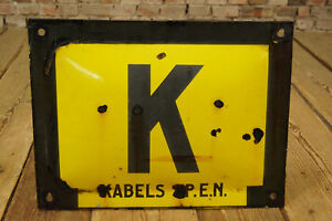 Advertising-Enamel-Sign-K-Cable-P-E-N-Kabel-Used-Antique