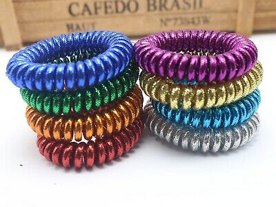shiny silver inner telephone cord hair tie 50 pcs coil hair ties assorted color hair ties
