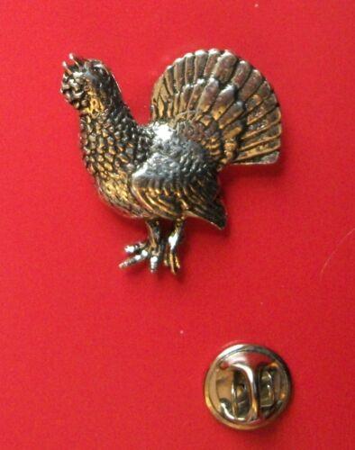 Lapel Badge B21 Bird Pin Badge Tie Pin English Pewter Scottish Capercaille