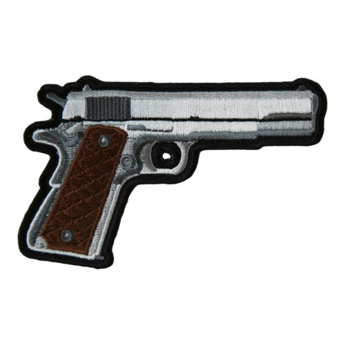 Embroidered Gun Patches Handgun With Brown Grips Right Facing Patch