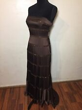 New BCBG MAXAZRIA Brown Sequin Strapless Evening Gown Dress Mermaid Tail Sz 4