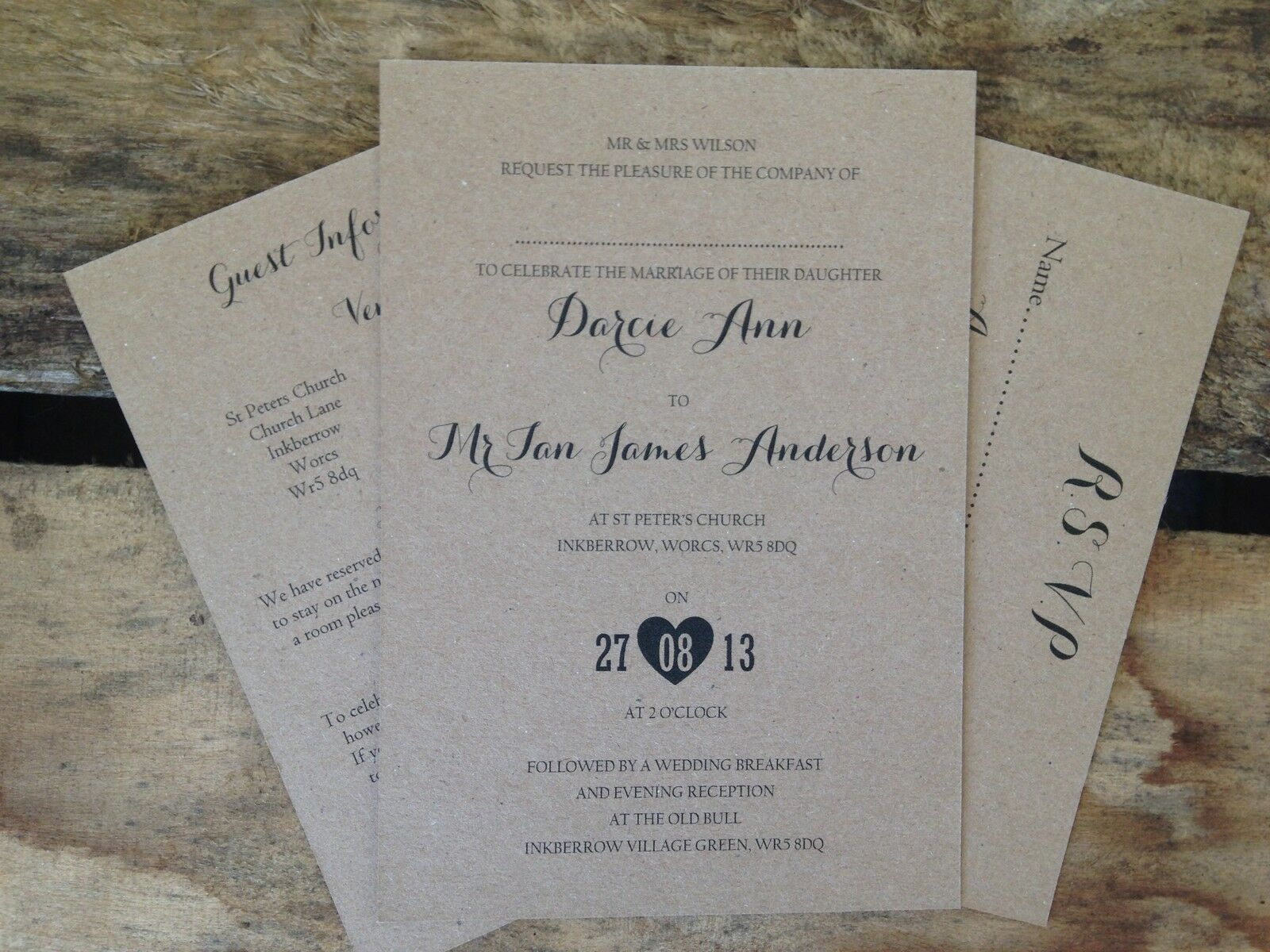 Wedding invitation set darcie kraft rustique vintage-invité vintage-invité vintage-invité d'information et rsvp 061ba5