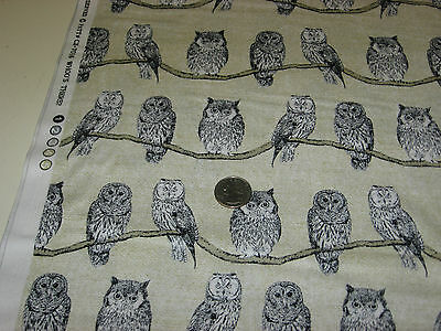 MICHAEL MILLER quilt-craft fabric WHOOOO'S THERE creme 1 6/8 yds LAST piece OWLS