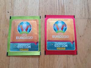 Panini EM Euro 2020 Tournament Ed., 2 sticker Tüten/packs Green/Red,Lidl version
