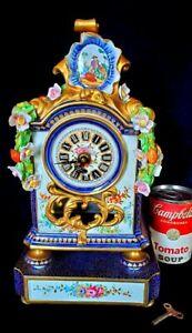 Large-Sevres-France-Porcelain-Mantle-Clock-Ornate-Details-Victorian-Era-w-Key