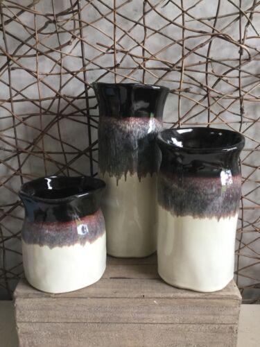 Parlane rustic mottled brown and cream ceramic vases three sizes
