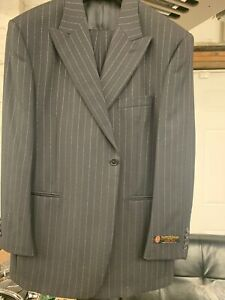 New-46R-1-Button-Men-039-s-Black-Stripe-Suit-100-Wool-Made-in-Italy-Retail-1295