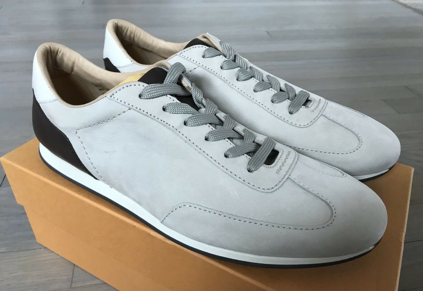 550 Tod's Light Stone Suede Allacciato Sneakers size US 12 Made in Italy