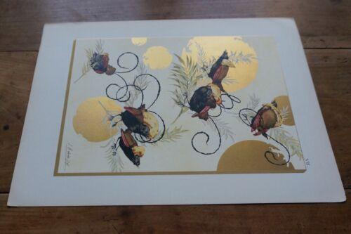 1850-1930 - CHROMO ORIGINALE -OISEAUX JAPONISME-ART NOUVEAU HABERT-DYS JULES