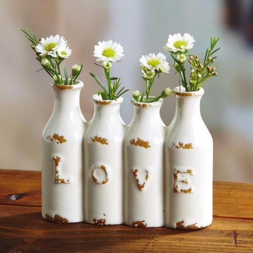 LOVE MINI VASE FOUR OPENINGS FRESH FLOWERS SPRING VALENTINE DAY NEW