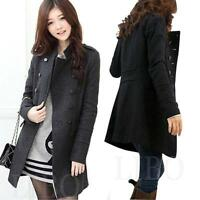 Women Winter Wool Blend Double Breasted Parka Trench Coat Windbreaker Jacket Top