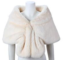 Elegant Long Hair Faux Fur Wedding Shawl Stoles Wraps Cape for Women Beige R1BO