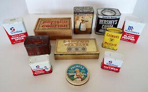 Vintage-Food-Tins-Baker-Cocoa-Bofisco-Codfish-Box-Mustard-Teas-Spices-11-Pc-Lot