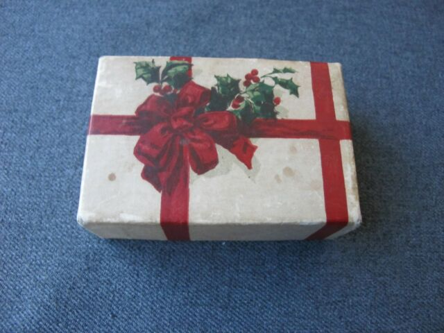 Vintage nice design fruits leaves & ribbons in bow cardboard jewelry gift box