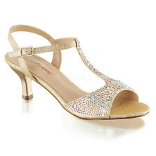 Gold Rhinestone Ballroom Dance Low Heels T Strap Vintage Bridal Shoes 7 8 9