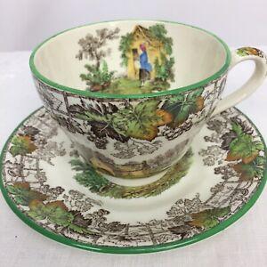 Copeland-Spode-England-Byron-Green-Trim-Transferware-Tea-Cup-amp-Saucer