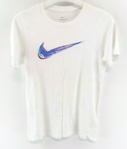 NIKE-Boys-T-Shirt-Top-12-13-Years-L-Large-White-Cotton