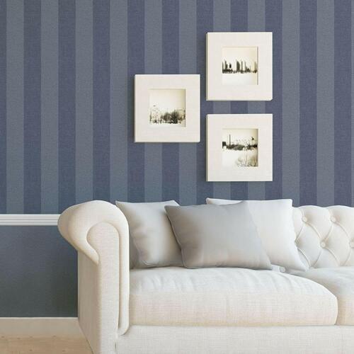 Collez Le Mur Bleu /& Blanc Texturé tweed rayures Caractéristique Papier Peint-M1310