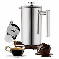 Stainless Steel French Press Leaf Tea Coffee Maker Kettle Pot 32oz Cup 1l Carafe