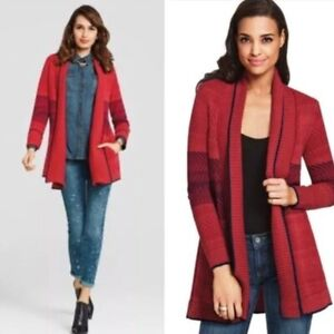 Cabi-Red-Blue-Joy-Open-Front-Cardigan-Sweater-Women-039-s-Sz-M-Style-897