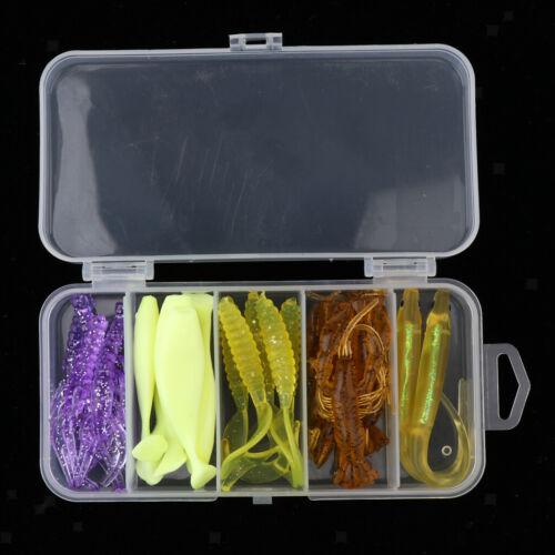 21pcs Soft Shrimp Shad Wurm Fischköder mit kleinen transparenten Box
