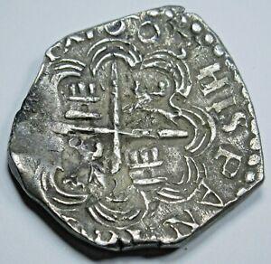1603-Spanish-Granada-Silver-2-Reales-Authentic-Antique-Colonial-Pirate-Cob-Coin
