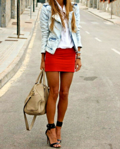 Party Red Short Skirt Women/'s Stretchy High Waist Micro Mini Skirts Divas  050