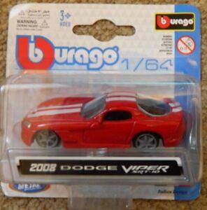 BURAGO-1-64-DIE-CAST-METAL-2008-DODGE-VIPER-auto-modello-SRT-10-NUOVO-IN-SCATOLA