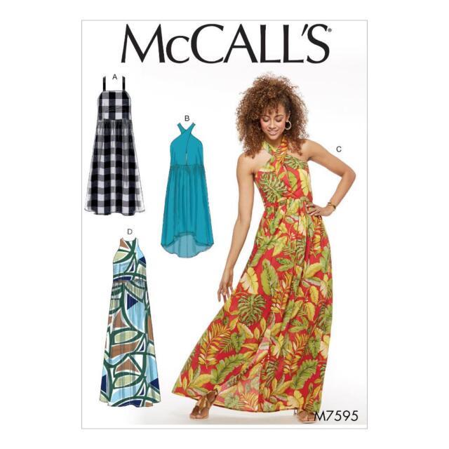 Raised Waist Dress Straps Wrap Halter High Neck Sewing Pattern 14 16 ...