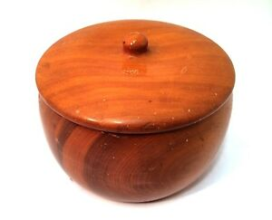 """Juniper Trinket Box with Lid Hand Turned Rare Wood 3"""" Tall Curved Sides"""