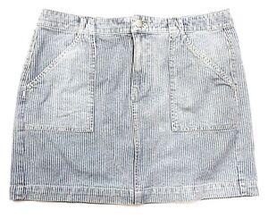 dd91901eed Madewell Women Size 12 Blue White Ticking Vertical Stripe Mini Skirt ...