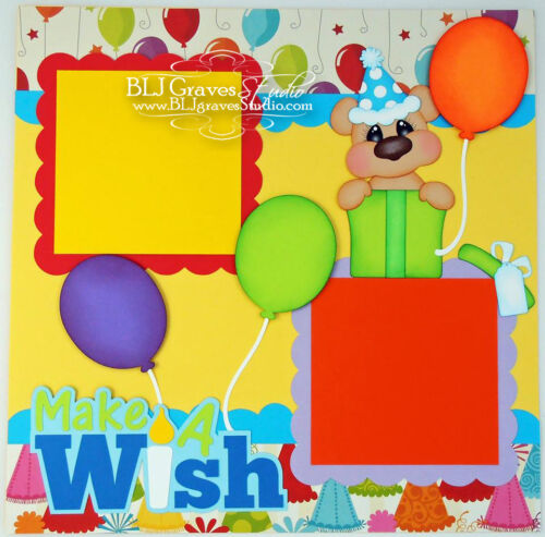 Elite4U Premade Scrapbook Page Paper Piecing Birthday Bear Boy Girl BLJgraves 61
